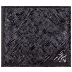 Prada Milano Logo Plaque Saffiano Bi-fold Wallet